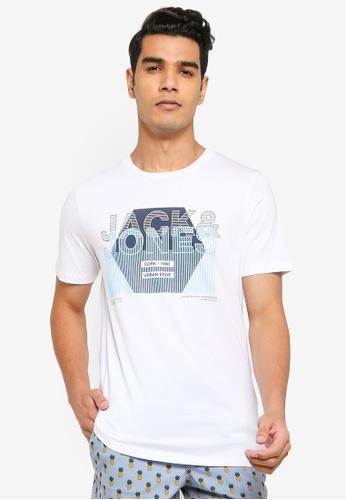 JACK & JONES white Cluster Short Sleeves Tee D4461AAA391EA9GS_1