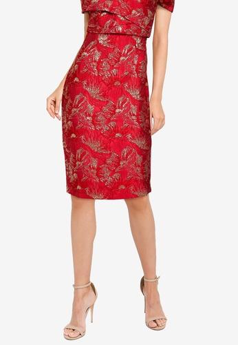 ZALORA OCCASION red Jacquard Pencil Skirt 49CF3AA555E398GS_1
