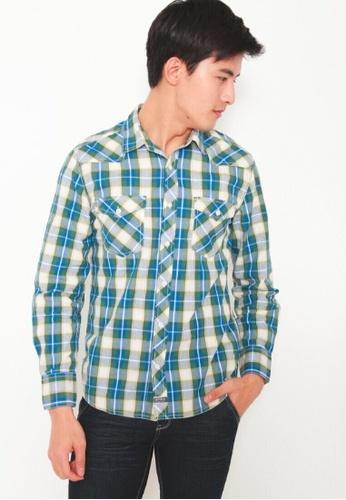 DENIZEN green Denizen Men Slim Fit Long Sleeve Woven Shirt Hunter Green DZ-31943-0450 AABF0AA9E36F03GS_1