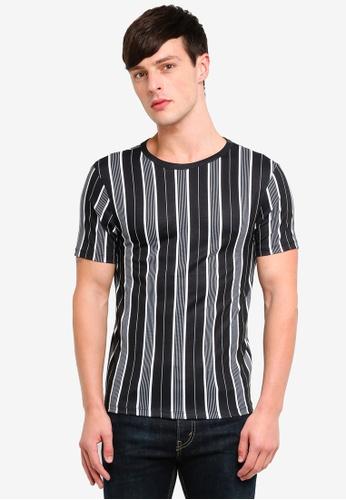 River Island 黑色 條紋T恤 AA873AAED8B68DGS_1