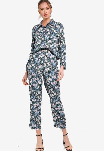 Lubna 藍色 and 褐色 襯衫及直筒褲套裝 EE4DAAA3BA585EGS_1