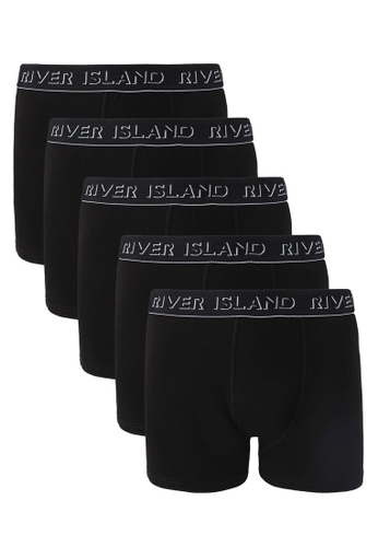 River Island black Black 3D Brand Print Trunks RI009US0SYMPMY_1