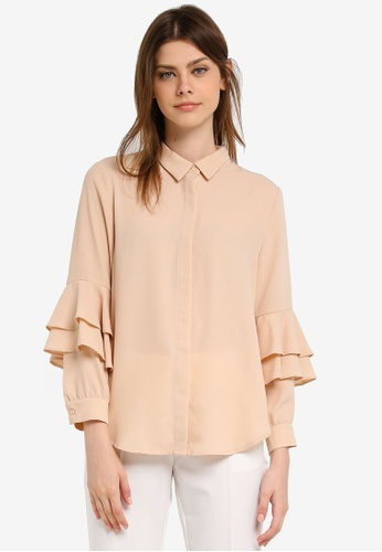 Zalia brown Layered Sleeve Shirt 976E0AA147A939GS_1