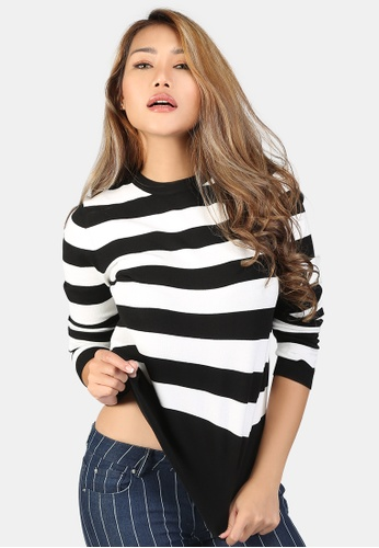 London Rag white Fine Knit Striped Sweater 5E33FAA6B6EC38GS_1