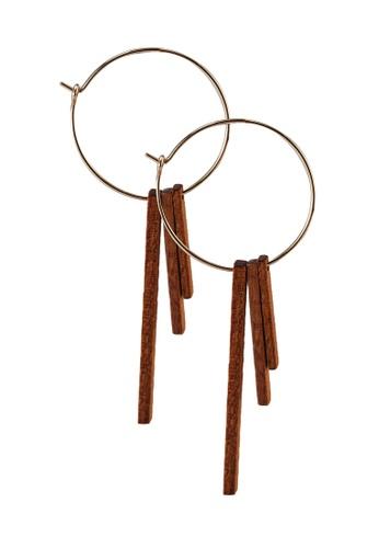 niko and ... brown Wood Hoop Earrings 9DA05AC8E2BEDFGS_1