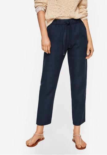 Mango blue Bow Linen Trousers 8178EAA6BB263DGS_1