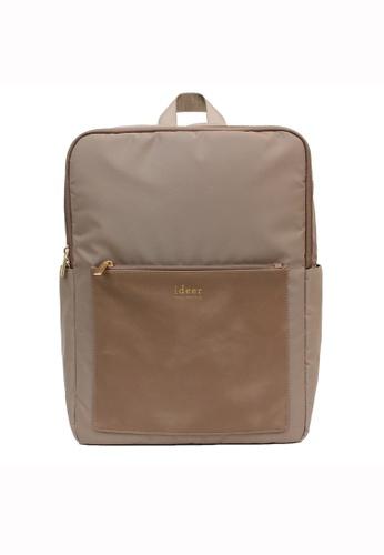 ideer brown Kendall Hazelnut Water-repellent Backpack ID960AC89HPUHK_1