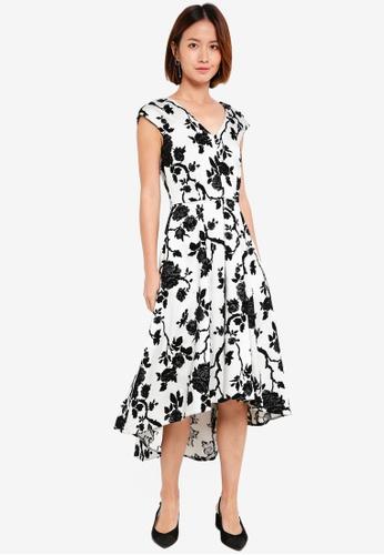 CLOSET white and multi Gold Black Floral Hi-Low Dress DAA02AA5EDBADFGS_1