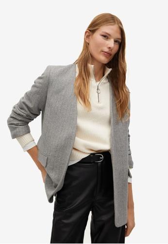 Mango grey Herringbone Wool-Blend Blazer 2DD98AAC682403GS_1