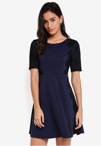 ZALORA navy Fit & Flare Dress with Lace D9D12AA08F681EGS_1