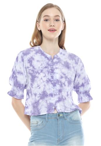 Aromore white and purple BLOUSE WANITA TIE DYE RAFFY LILAC SHIRT C7CB6AA735B786GS_1