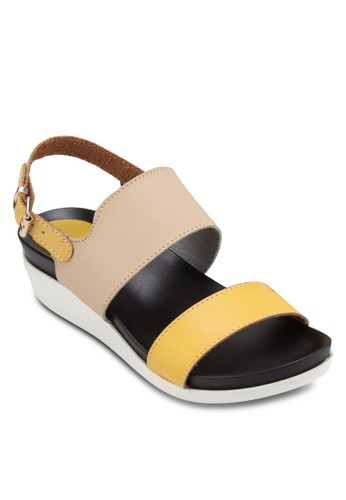 拼色踝帶厚底涼zalora 包包評價鞋, 女鞋, 涼鞋