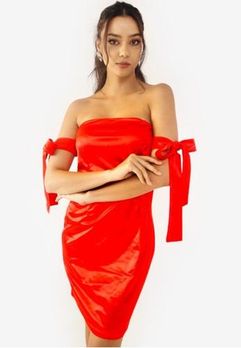 RFLCTVE red Bow Tie Mini Dress 6450CAAF4A7F3BGS_1