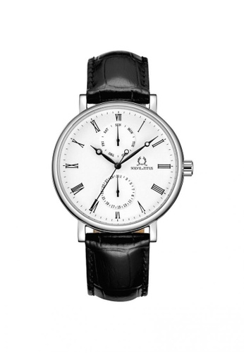 Solvil et Titus black Classicist Men's Multi-Function Quartz Watch in Silver White Dial and Black Leather Strap 24CA9AC7FBAB8AGS_1