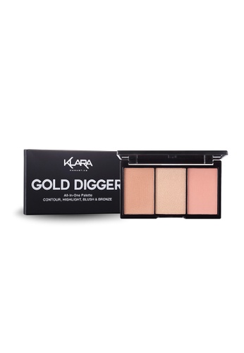 KLARA COSMETICS beige Gold Digger, All In One Palette - Contour, Highlight, Blush & Bronze 02CEEBE61D06A1GS_1