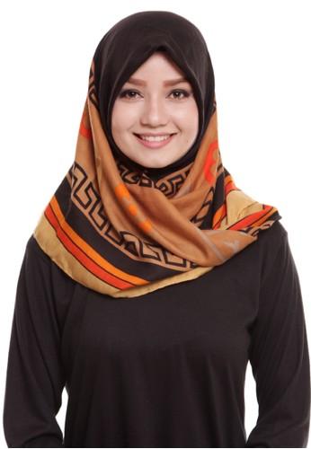 Mybamus Ethnic Square Hijab Viscose Black - Borwn