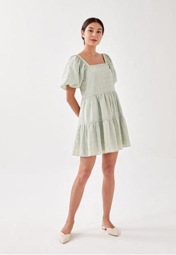 Love, Bonito green Junia Textured Swing Dress 7D54AAA9F3EE3BGS_1