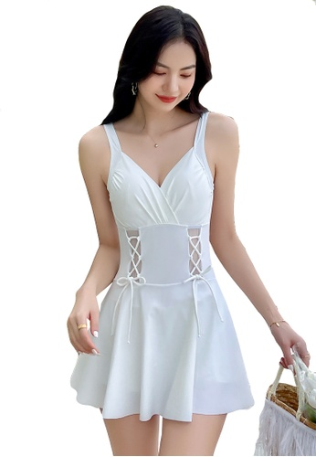 A-IN GIRLS white Sexy Gauze Big Backless One-Piece Swimsuit 0D084US49F6070GS_1