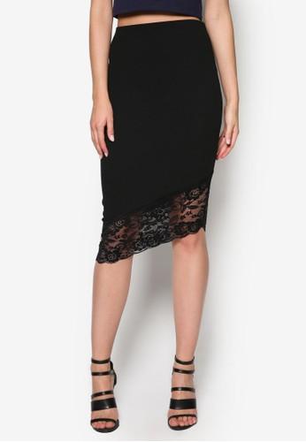 不對稱蕾絲鉛筆短裙, 服飾, esprit tw服飾