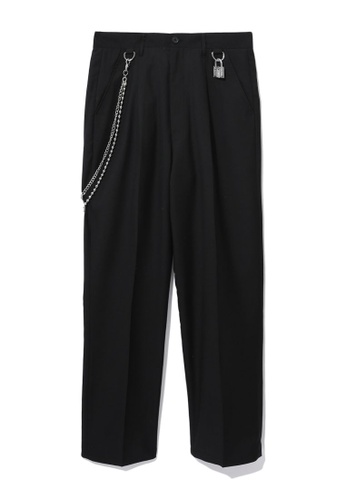 Fivecm black Padlock and chain detail pants A7B8BAAED5964DGS_1