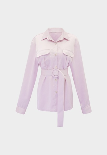 Pomelo pink Button Up Belted Long Sleeve Shirt - Pink DD9D6AA2F3558FGS_1
