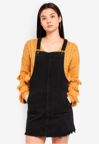 Cotton On black Denim Pinafore Dress 9742AAA66AF0C5GS_1