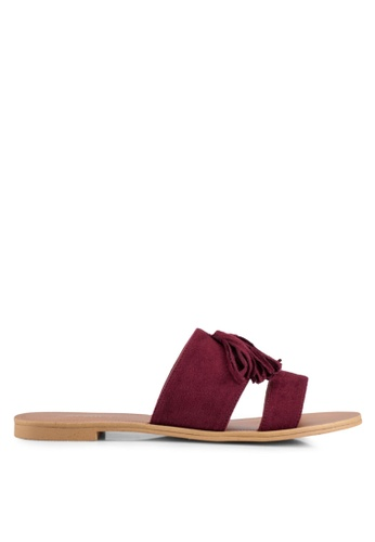 ZALORA red Double Strap Sliders With Tassles F6A4BSHDE4C469GS_1