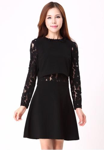 Les Premieres black Layered Lace A-line Dress D2B00AA1C88B29GS_1