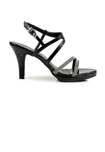 SHINE black SHINE Glitter Crystal Emelished Cross Strap Sandals SH554SH59TAMSG_1