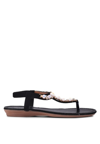 Mimosa black Embellished Flat Sandals 6AF06SHF75C2A6GS_1