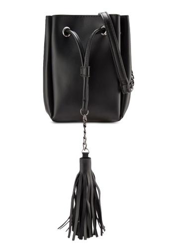 Something Borrowed black Long Line Tassel Bucket Crossbody Bag D55EFZZ6BF01E8GS_1