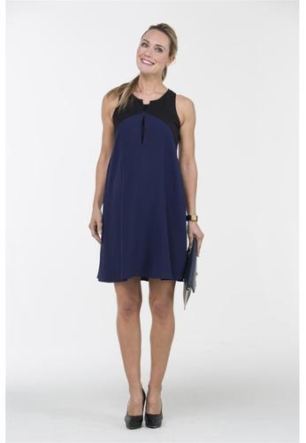 Bove by Spring Maternity blue Woven Sleeveless Bibiana Contrast Nursing Dress Blue IDN4904 BO010AA0FBR3SG_1