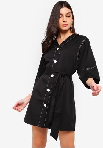 ZALORA black Contrast Stitches Details Dress C4FB3AA1E3EDF5GS_1