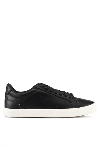 Burton Menswear London black Leather Look Trainers 741BDSH338A16AGS_1
