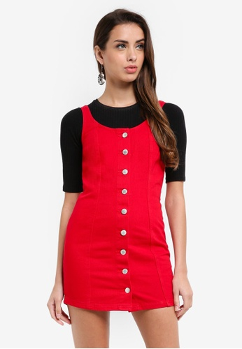 Miss Selfridge red Petite Red Button Pinny Dress 44B22AA9B5EFAFGS_1