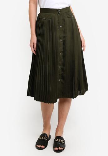 ZALORA green Pleated Button Down Skirt CA310AA0397331GS_1