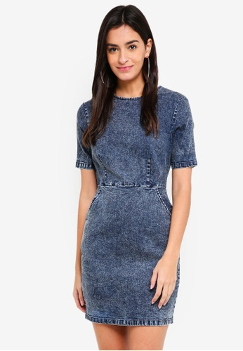 ZALORA blue Denim Short Sleeves Bodycon Dress 9DD84AAB787DA4GS_1