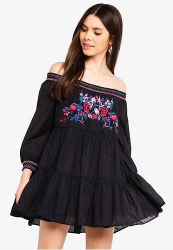 Free People black Sunbeams Mini Dress 1CE38AA6B1CC8EGS_1