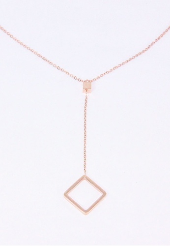 ASLLY pink and gold Van Gogh's Frame │Simple Rose Gold Square Necklace 25845AC7E23F40GS_1