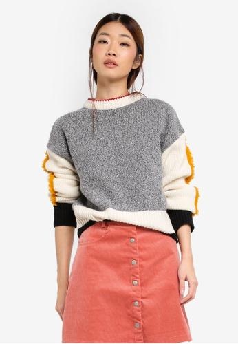 Stylenanda grey Contrast Panel Sweatshirt ST343AA0SXKIMY_1