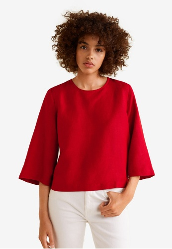 Mango red Flared Sleeves Top 389E3AAD1B8AB1GS_1