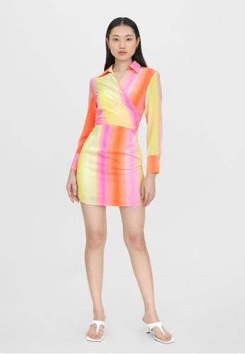 Pomelo multi Front Tie Mini Dress - Multi Color 897F4AA7996A83GS_1