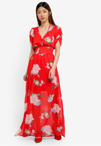 Miss Selfridge red and multi CNY Floral Print Mani Dress 310E1AA20BFCAAGS_1