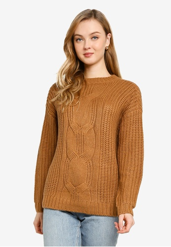 Vero Moda brown Presleyalpine Long Sleeve O-neck Sweater B2DCDAA3A1FAC9GS_1