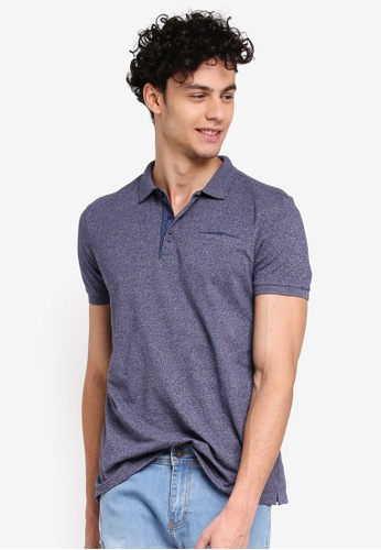 Penshoppe blue and navy Relaxed Fit Polo Shirt With Pocket 4F7F0AA5442F04GS_1