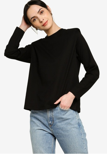 Earth by Zalia Basics black Organic Cotton Shoulder Pad T-Shirt EE988AA8E2DFE9GS_1