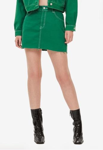 9e42352b2b4e Shop TOPSHOP Petite Green Denim Skirt Online on ZALORA Philippines