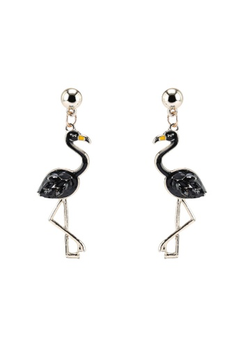 Red's Revenge black Bejewelled Flamingo Dangle Earrings DA1B0AC52A4C71GS_1