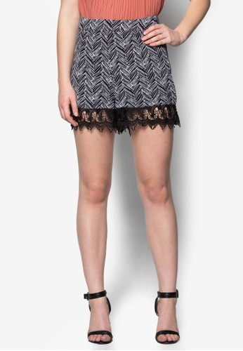 Paige 蕾絲拼接花esprit台灣網頁色短褲, 服飾, 服飾