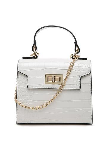 London Rag white White Croc-Textured Sling Bag B343EAC7BED54CGS_1